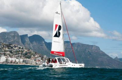 Ameera Sailing Catamaran with table mountain in the background