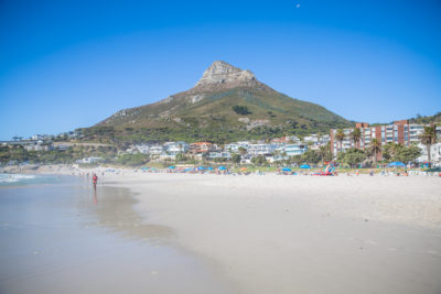Camps Bay Beach lions head in background