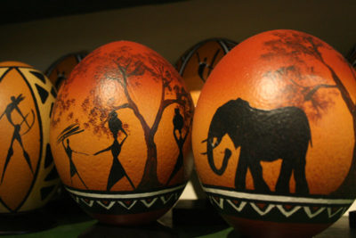 Cape Point Ostrich Farm painted ostrich eggs
