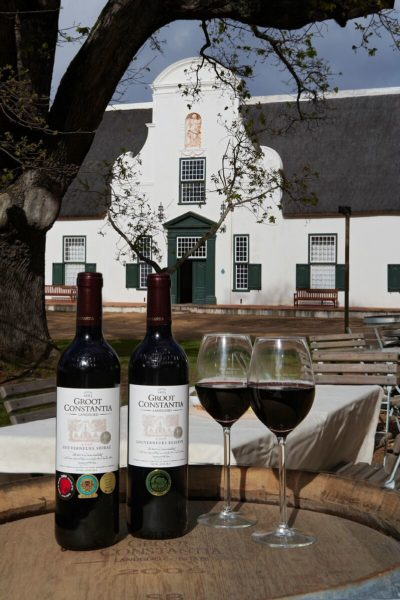 Groot Constantia Estate Tour two red wines and two glasses