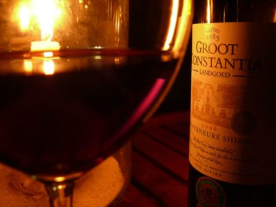 Groot Constantia Wine and Chocolate Pairing red wine in night with candle light