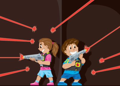 Laser Tag boy and girl cartoon playing laser tag