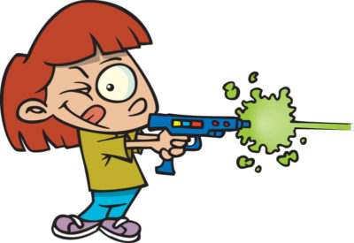 Laser Tag cartoon of boy firing laser tag pistol