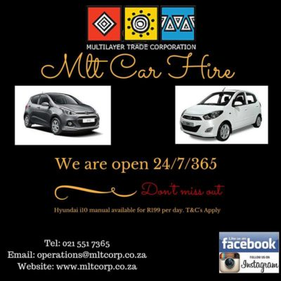 MLT Car Hire cars and open times with telephone number and email address