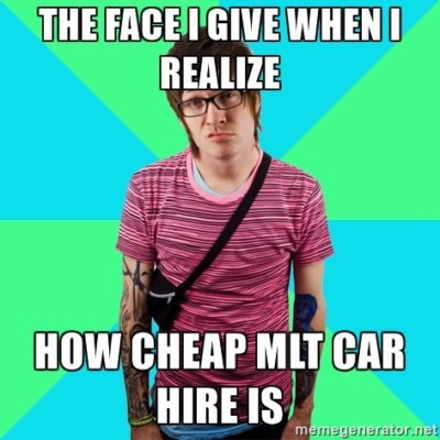 MLT Car Hire young man saying mlt rates are cheap