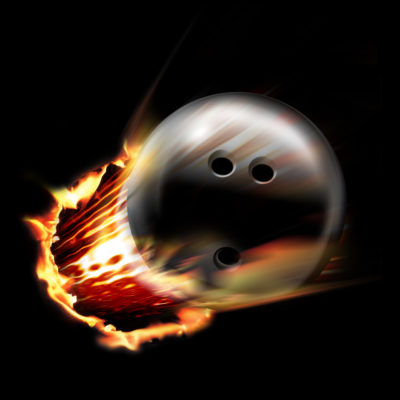 Magic Bowling ball smashing through wall with flames
