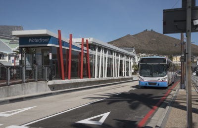 MyCiti Bus Rapid Transport bus arriving at station