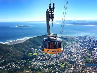 Table Mountain Aerial Cableway with roads and trees and cars in background