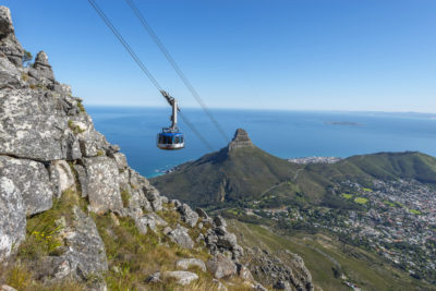 Table Mountain Aerial Cableway ocean robben island and lions head in back