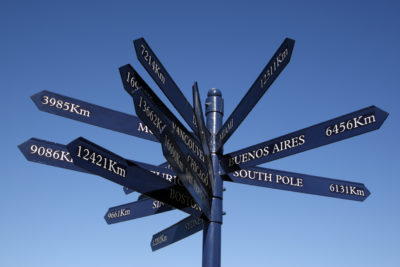 V & A Waterfront distance and direction post