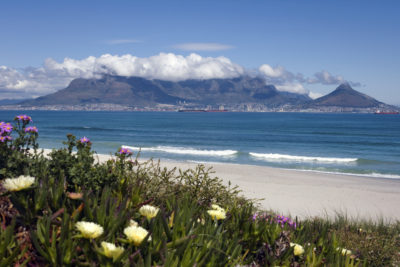 Blouberg Beach table mountain view with clouds