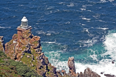 Cape Point Nature Reserve lighthouse with ocean in background