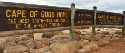 Cape Point Nature Reserve co-ordinates sign board for most south western point