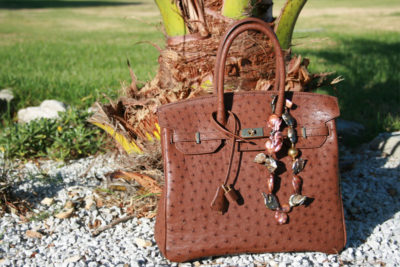 Cape Point Ostrich Farm brown ostrich leather handbag with decorative jewels