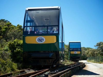 Cape Point Flying Dutchman showing double track area where funicular up and down pass one another