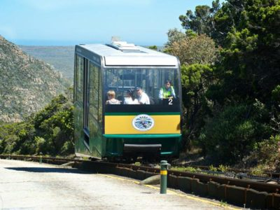 Cape Point Flying Dutchman view over park as funicular is halfway up