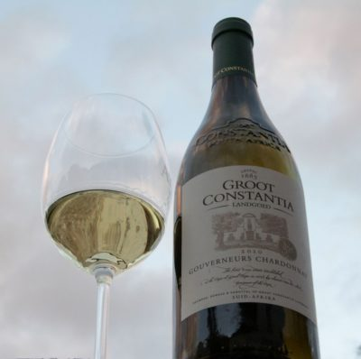 Groot Constantia Estate Tourgouverneurs chardonnay and glass of wine