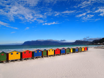 Muizenberg Beach colourful wooden changerooms on beach