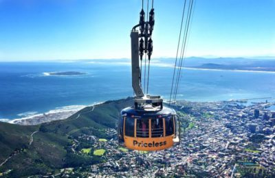 Table Mountain Aerial Cableway close-up ocean background