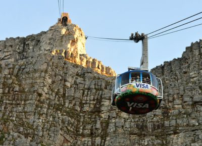 Table Mountain Aerial Cableway with mountain cliff in background